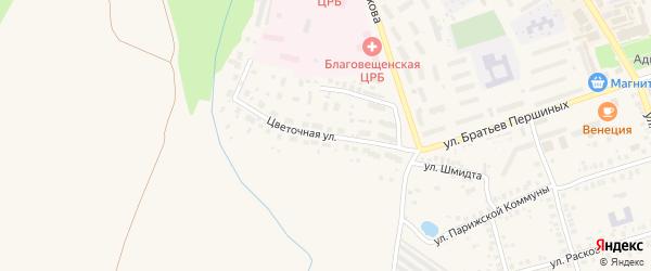 Цветочная улица на карте Благовещенска с номерами домов