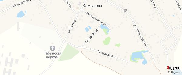 Полевой переулок на карте деревни Камышлы с номерами домов