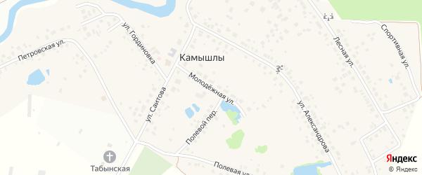 Молодежная улица на карте деревни Камышлы с номерами домов