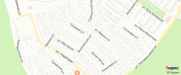 Полевая улица на карте Уфы с номерами домов