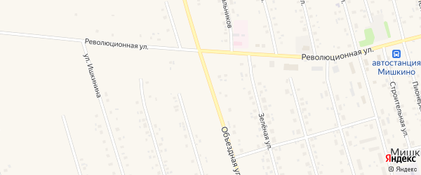 Объездная улица на карте села Мишкино с номерами домов