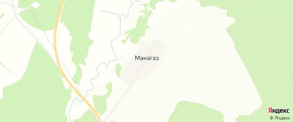 Карта деревни Манагаза в Башкортостане с улицами и номерами домов