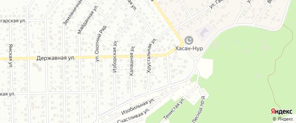 Хрустальная улица на карте Уфы с номерами домов