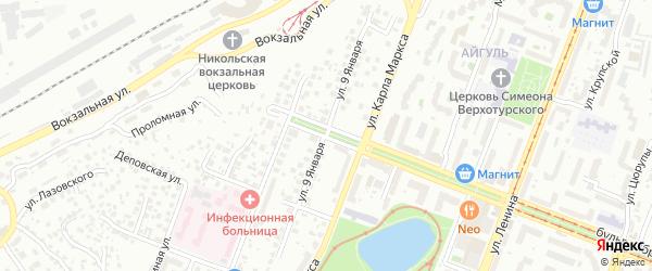 Улица 9 Января на карте Уфы с номерами домов