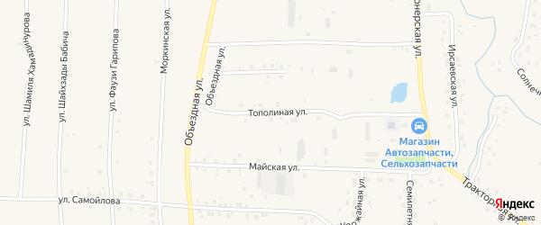 Тополиная улица на карте села Мишкино с номерами домов