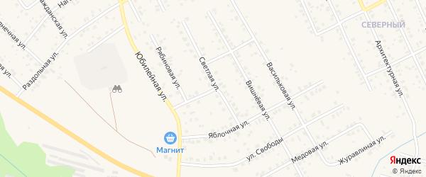 Светлая улица на карте Агидели с номерами домов