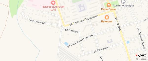 Улица Шмидта на карте Благовещенска с номерами домов