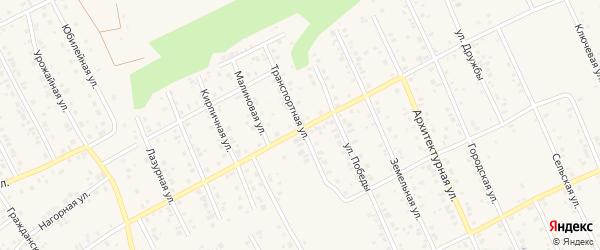Транспортная улица на карте Благовещенска с номерами домов