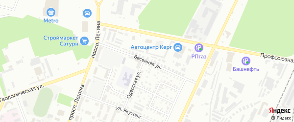 Весенняя улица на карте Стерлитамака с номерами домов