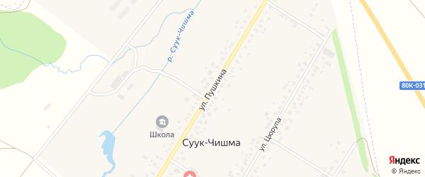 Улица Пушкина на карте села Суука-Чишма с номерами домов