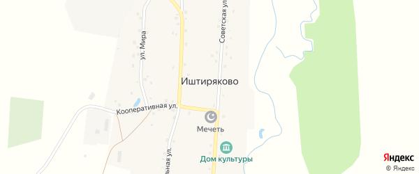 Кооперативная улица на карте деревни Иштиряково с номерами домов