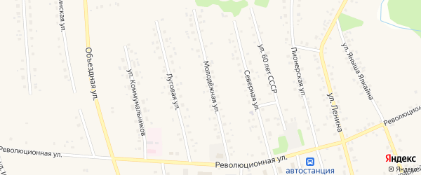 Молодежная улица на карте села Мишкино с номерами домов