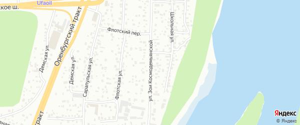 Улица Зои Космодемьянской на карте Уфы с номерами домов