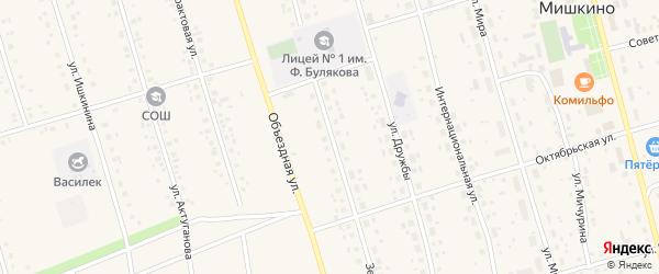 Зеленая улица на карте села Мишкино с номерами домов