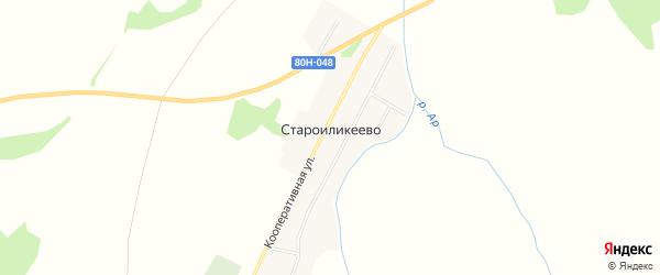 Карта деревни Староиликеево в Башкортостане с улицами и номерами домов