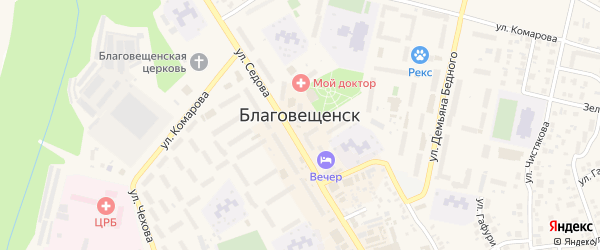 Гостиная улица на карте Благовещенска с номерами домов