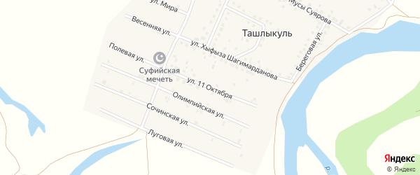 Улица 11 Октября на карте деревни Ташлыкуля с номерами домов