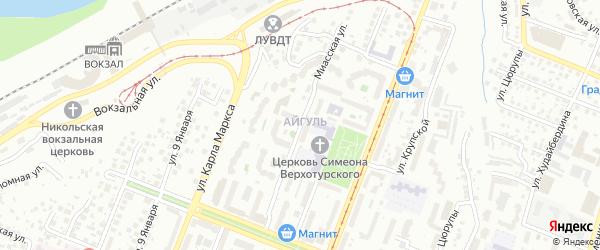 Миасская улица на карте Уфы с номерами домов