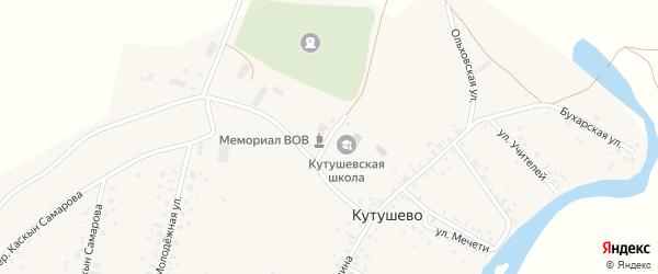 Школьный переулок на карте деревни Кутушево с номерами домов