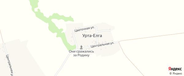 Цветочная улица на карте деревни Урты-Елги с номерами домов