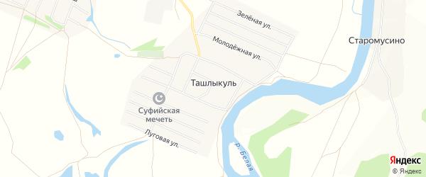 Карта деревни Ташлыкуля в Башкортостане с улицами и номерами домов