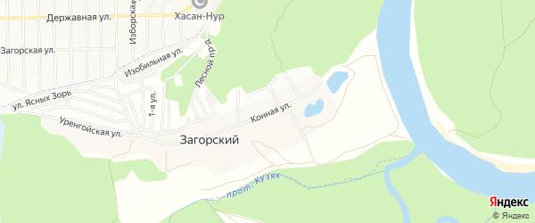 СНТ Загорский на карте Уфимского района с номерами домов