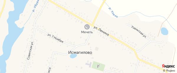 Центральная улица на карте села Исмагилово с номерами домов