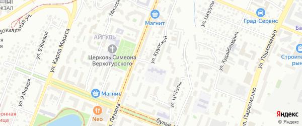 Улица Крупской на карте Уфы с номерами домов