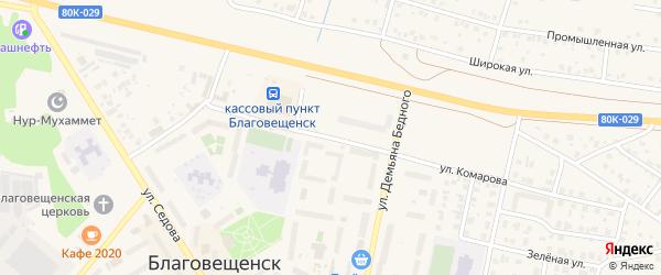 Улица Комарова на карте Благовещенска с номерами домов