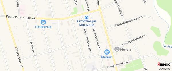 Строительная улица на карте села Мишкино с номерами домов