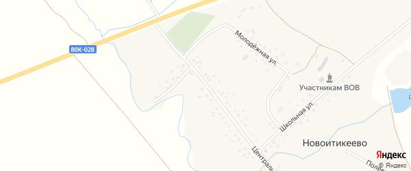Центральная улица на карте деревни Новоитикеево с номерами домов