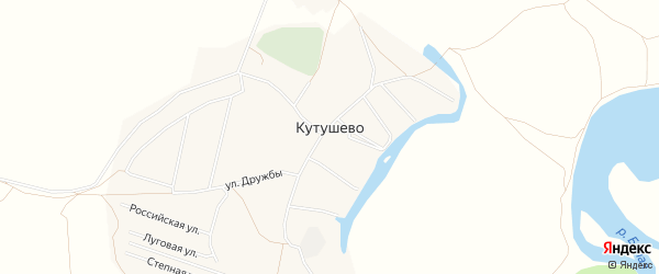 Карта деревни Кутушево в Башкортостане с улицами и номерами домов