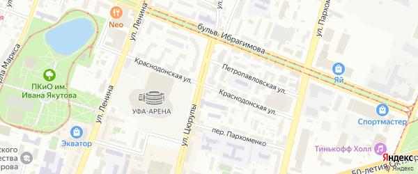 Краснодонская улица на карте Уфы с номерами домов