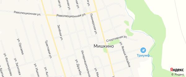 Карта села Мишкино в Башкортостане с улицами и номерами домов