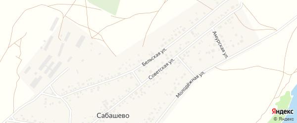 Бельская улица на карте деревни Сабашево с номерами домов