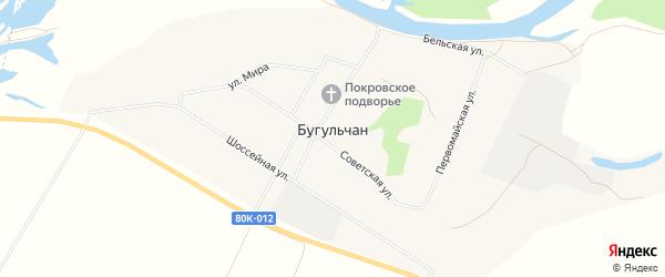 Карта села Бугульчана в Башкортостане с улицами и номерами домов
