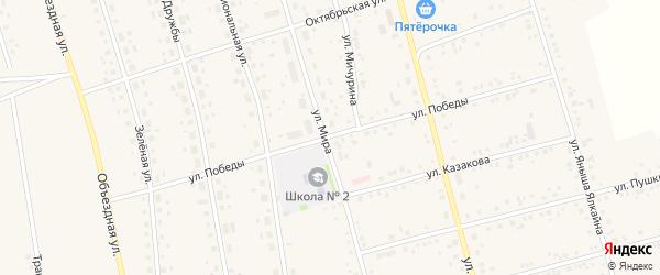 Улица Победы на карте села Мишкино с номерами домов
