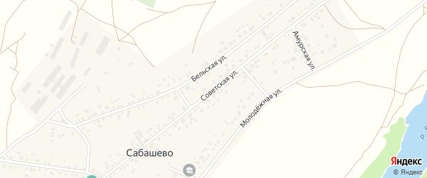 Советская улица на карте деревни Сабашево с номерами домов
