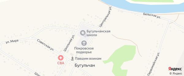Центральная улица на карте села Бугульчана с номерами домов