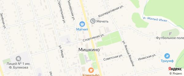 Спортивная улица на карте села Мишкино с номерами домов