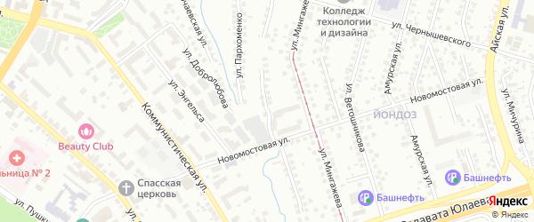 Новокустарная улица на карте Уфы с номерами домов