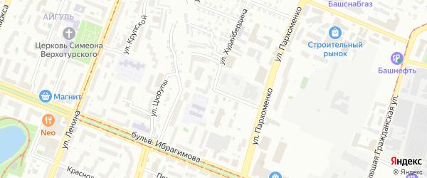 Улица Худайбердина на карте Уфы с номерами домов