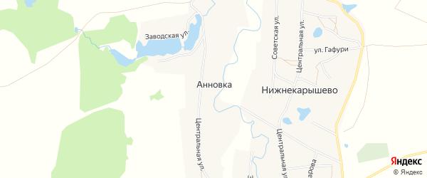 Карта деревни Анновки в Башкортостане с улицами и номерами домов