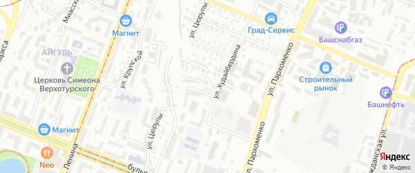 Рабкоровский переулок на карте Уфы с номерами домов