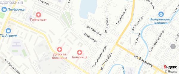 Зеленая улица на карте Стерлитамака с номерами домов