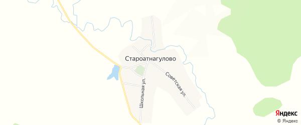 Карта деревни Староатнагулово в Башкортостане с улицами и номерами домов