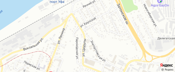 Златоустовская улица на карте Уфы с номерами домов
