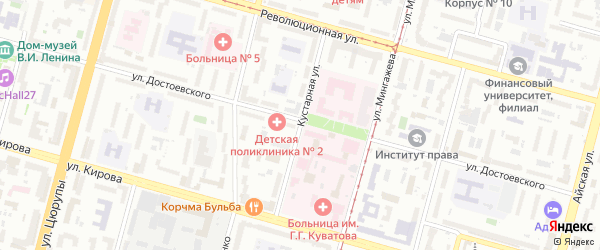 Кустарная улица на карте Уфы с номерами домов