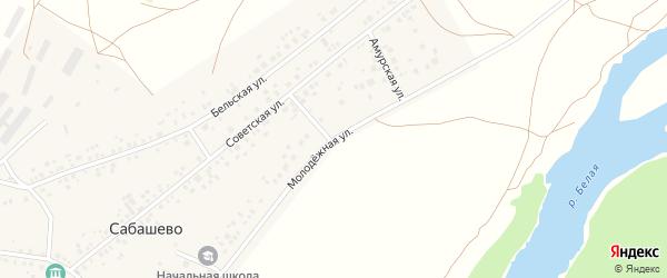 Молодежная улица на карте деревни Сабашево с номерами домов