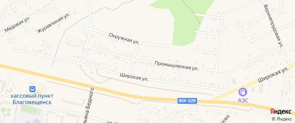 Промышленная улица на карте Благовещенска с номерами домов